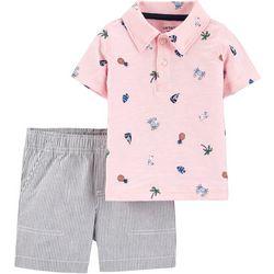 Baby Boys Tropical Polo & Striped Short Set