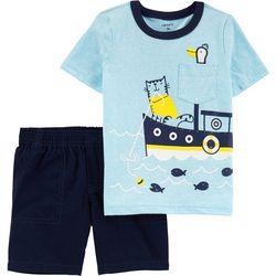 Baby Boys Boat Snow Yarn Tee & Short Set