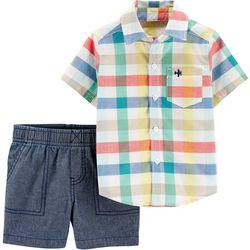 Baby Boys Plaid Button Front Shirt & Short Set