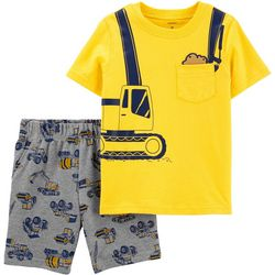 Carters Toddler Boys Construction Tee & Shorts Set