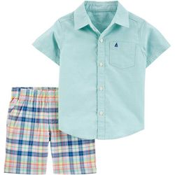 Carters Baby Boys Oxford Button Front Shirt & Short Set