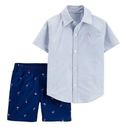 Carters Baby Boys Stripe Flamingo Shorts Set