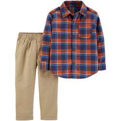 Carters Baby Boys Red & Blue Plaid Button Up Pants Set
