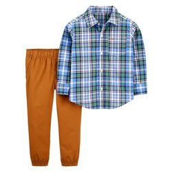 Carters Baby Boys Plaid Button Down Jogger Pants Set