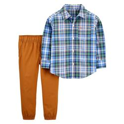 Baby Boys Plaid Button Down Jogger Pants Set