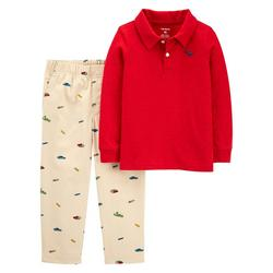 Baby Boys 2-pc. Long Sleeve Solid Polo Set