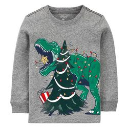 Toddler Boys Long Sleeve Xmas Dino T-shirt