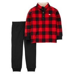 Toddler Boys Buffalo Plaid Jogger Pant Set