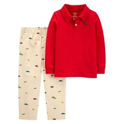 Toddler Boys 2-pc. Long Sleeve Solid Polo Set