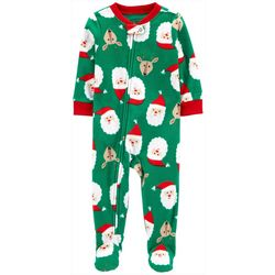 Baby Boys Long Sleeve Santa Zip Up Fleece Pajamas