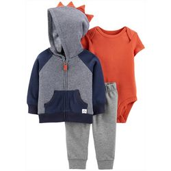 Carters Baby Boys 3-pc. Striped Dino Hoodie & Bodysuit Set