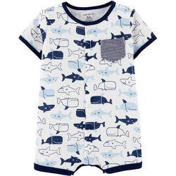 Baby Boys Short Sleeve Shark & Whale Rompe