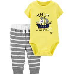 Baby Boys Striped Pirate Bodysuit Set