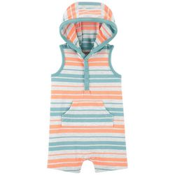 Carters Baby Boys Striped Hooded Sleeveless Romper