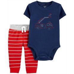 Baby Boys Short Sleeve Fire Truck Bodysuit Set
