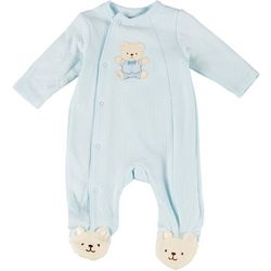 Little Me Baby Boys Embroidered Bear One Piece