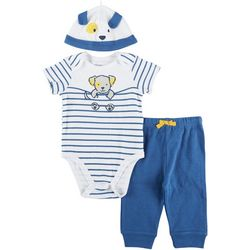 Little Me Baby Boys 3-pc. Puppy Stripe Pant Set