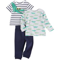 Little Me Baby Boys 3-pc. Alligator Stripe Pant Set