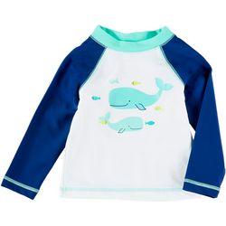 Little Me Baby Boys Whale Raglan Rashguard