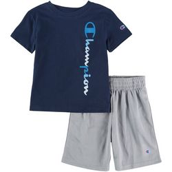 Champion Toddler Boys 2-pc. Logo Vertical Script Short Set