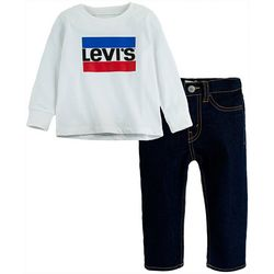 Toddler Boys 2-pc. Stripe Logo Sweater & Jeans Set