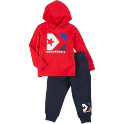 Converse Toddler Boys Long Sleeve Logo Fleece Hoodie Set