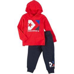 Toddler Boys Long Sleeve Logo Fleece Hoodie Set
