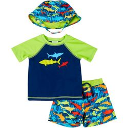 Toddler Boys 3-pc. Shark Rashguard Set