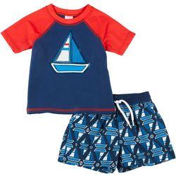 Baby Boys 2-pc. Sailboat Rashguard Set