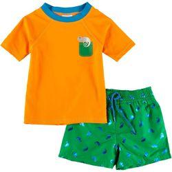 Floatimini Toddler Boys 2-pc. Chameleon Rashguard Set