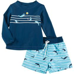 Toddler Boys 2-pc. Dolphin Rashguard Set