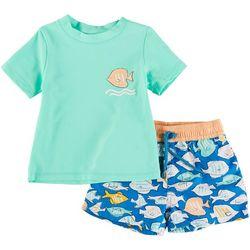 Floatimini Toddler Boys 3-pc. Fish Rashguard Set