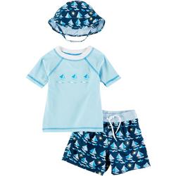 Toddler Boys 3-pc. Sailboat Rashguard Set