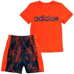 Adidas Toddler Boys 2-pc. Solid Tee & Camo Shorts Set