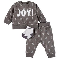 PL Baby Baby Boys 3-pc. Joy Embroidered Long Sleeve Top Set