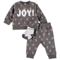 Baby Boys 3-pc. Joy Embroidered Long Sleeve Top Set