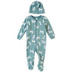 PL Baby Baby Boys 2-pc. Snow Leopard Print Pajama Set