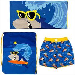 Dreamwave Toddler Boys 3-pc. Shark Swim Shorts Set