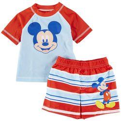 Mickey Mouse Baby Boys 2-pc. Mickey Mouse Rashguard Set