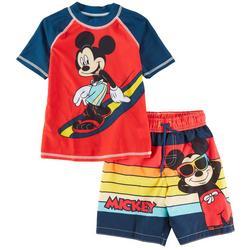 Toddler Boys 2-pc. Surf Mickey Mouse Rashguard