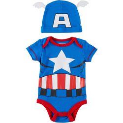 Baby Boys 2-pc. Captain America Bodysuit Set