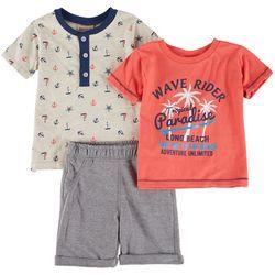 Little Lad Toddler Boys 3-pc. Wave Rider Shorts Set