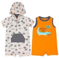 Little Lad Baby Boys 2-pk. Crocodile & Palm Tree Romper Set