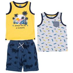 Little Lad Toddler Boys 3-pc. Surfer Shorts Set