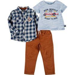 Little Lad Toddler Boys 3-pc. Iron Wheels Pants Set