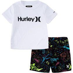 Hurley Toddler Boys 2-pc. Aquatic Sealife Rashguard Set