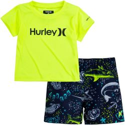 Hurley Toddler Boys 2-pc. Aquatic Sealife Rashguard Set