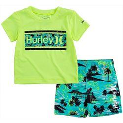 Hurley Toddler Boys 2-pc. Tropical Rashguard Set