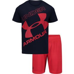 Under Armour Toddler Boys 2-pc. Tilted Big Logo Shorts Set