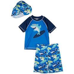 Sol Swim Toddler Boys Surf Shark Short Sleeve Rashguard Set